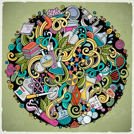 Cartoon griffonnages mignon dessiné à la main science illustration. Colorful détaillé, avec beaucoup d'objets de fond. illustrations vectorielles drôle Banque d'images - 66602291