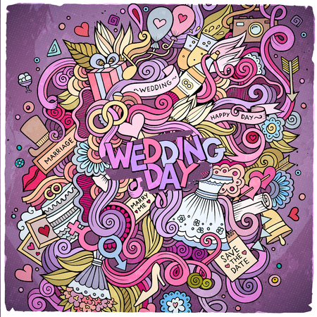 Bright Colors Picture With Love Items Cartoon Cute Doodles Hand Drawn Wedding Illustration Colorful Detailed Lots Of Objects Background