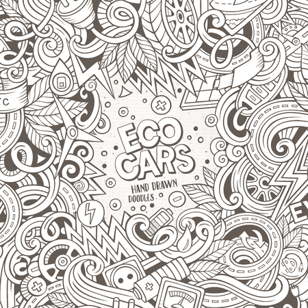 electric line: Cartoon cute doodles hand drawn electric cars frame design. Sketchy detailed, with lots of objects background. Funny vector illustration. Line art border Stock Photo