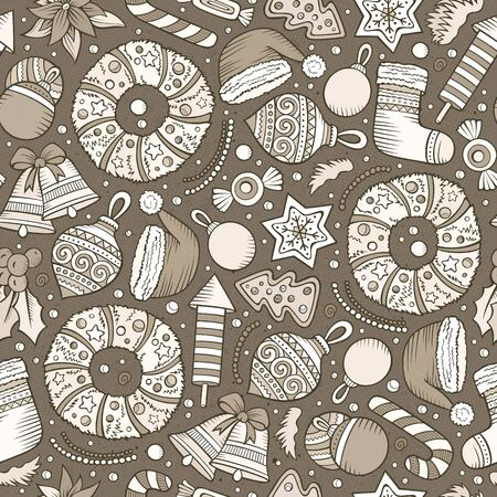 xmass: Cartoon cute hand drawn Xmass seamless pattern. Line art with lots of objects background. Endless funny vector illustration Illustration