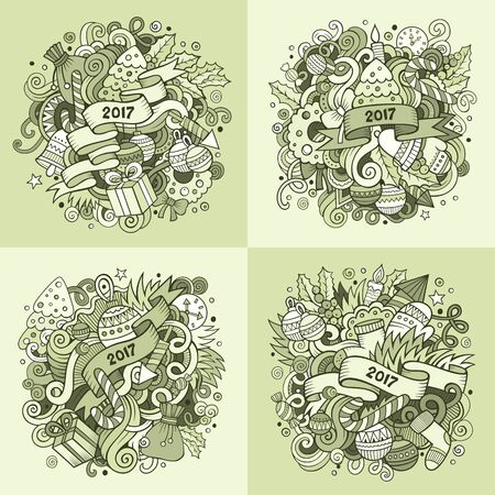 composition art: New Year cartoon vector hand drawn doodle illustration. Line art detailed designs with lot of objects and symbols. 4 square composition backgrounds set