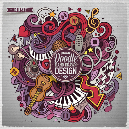 background music: Cartoon cute doodles hand drawn Music illustration. Colorful detailed, with lots of objects background. Funny vector grunge artwork