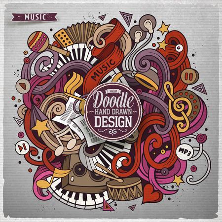 hand beats: Cartoon cute doodles hand drawn Music illustration. Colorful detailed, with lots of objects background. Funny vector grunge artwork