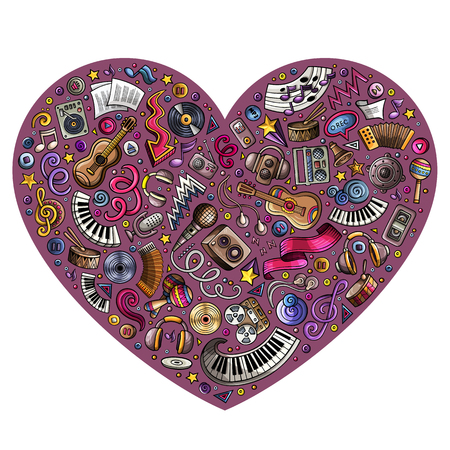 sing: Colorful vector hand drawn set of Music cartoon doodle objects, symbols and items. Heart form composition Illustration