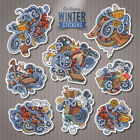 collection series: Set of Winter season cartoon stickers. Vector hand drawn objects and symbols collection. Label design elements. Happy holidays. Cute patches, pins, badges series. Comic style.