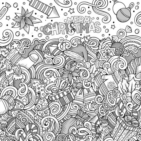 christmas objects: Cartoon cute doodles hand drawn Happy New Year frame design. Sketch detailed, with lots of objects background. Funny vector illustration. Line art border with Christmas items Illustration