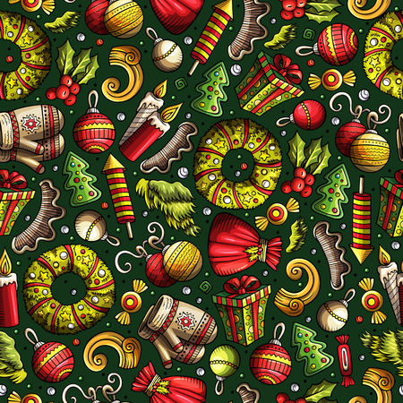 xmass: Cartoon cute hand drawn Xmass seamless pattern. Colorful with lots of objects background. Endless funny vector illustration