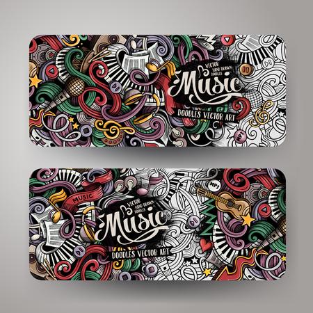 cartoon: Cartoon colorful vector hand drawn doodles music corporate identity.2 orizontal banners design. Templates set