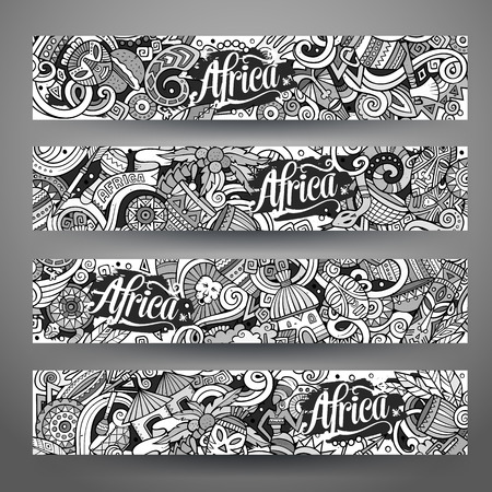 Cartoon cute line art vector hand drawn doodles Africa corporate identity. 4 horizontal banners design. Templates set