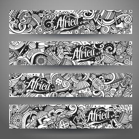 Cartoon cute line art vector hand drawn doodles Africa corporate identity. 4 horizontal banners design. Templates set
