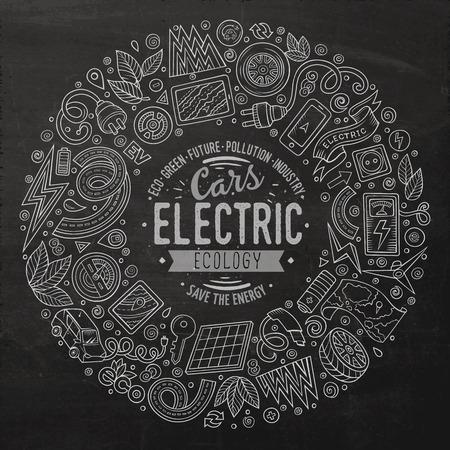 칠판 벡터 손으로 그린 집합이 전기 자동차 만화 낙서 개체, 기호 및 항목. 라운드 프레임 구성 일러스트