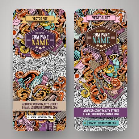 Cartoon cute colorful vector hand drawn doodles Hair salon corporate identity. 2 vertical banners design. Templates set