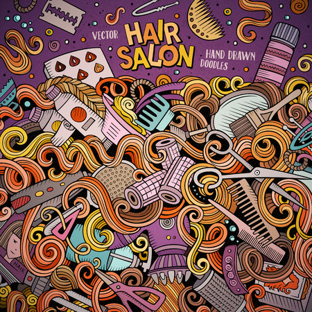hair colors: Cartoon cute doodles hand drawn Hair salon frame design. Colorful detailed, with lots of objects background. Funny vector illustration. Bright colors border with Barber shop items