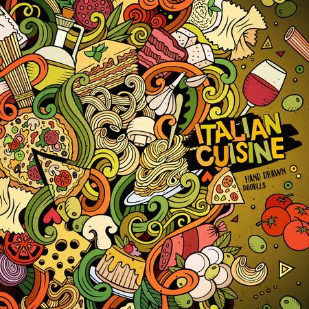 Cartoon disegnati a mano scarabocchi italiana illustrazione cibo. Colorful dettagliata, con un sacco di oggetti di disegno vettoriale sfondo