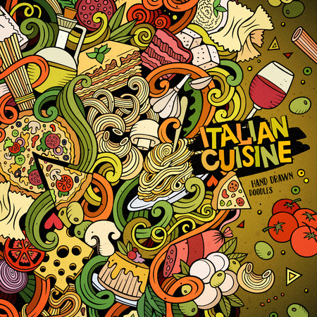 Cartoon hand-drawn doodles Italian food illustration. Colorful detailed, with lots of objects vector design background Illustration