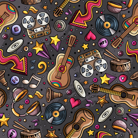 simbolos musicales: Cartoon hand-drawn musical instruments seamless pattern. Lots of music symbols, objects and elements. Perfect funny multicolored tile vector background. Vectores