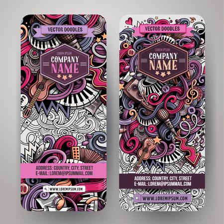 Cartoon colorful vector hand drawn doodles music corporate identity. 2 vertical banners design. Templates set