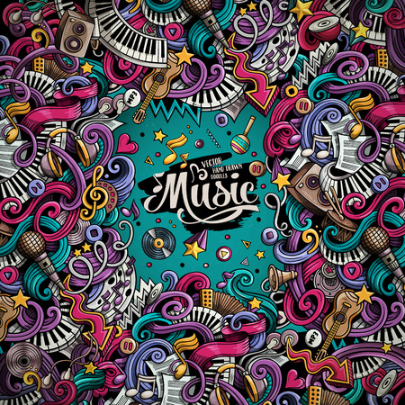 Cartoon 3d doodles Musical illustration. Colorful detailed frame, with lots of objects vector background