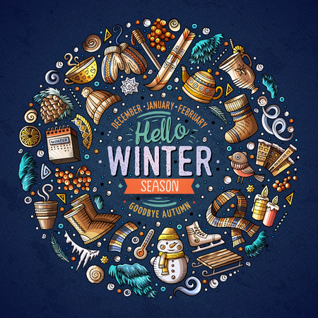 sopel lodu: Colorful vector hand drawn set of Winter cartoon doodle objects, symbols and items. Round frame composition