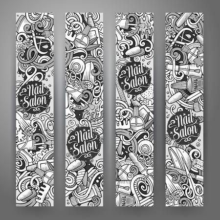 accessory: Cartoon cute vector hand drawn doodles Nail salon corporate identity. 4 vertical banners design. Templates set