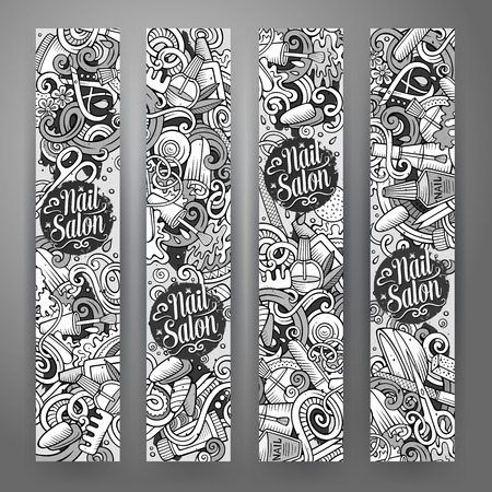 Cartoon cute vector hand drawn doodles Nail salon corporate identity. 4 vertical banners design. Templates set