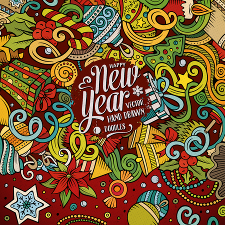 new year frame: Cartoon cute doodles hand drawn Happy New Year frame design. Colorful detailed, with lots of objects background. Funny vector illustration. Bright colors border with Christmas items