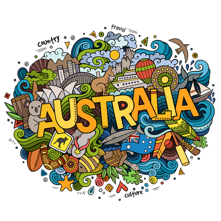 Australia country hand lettering and doodles elements and symbols background. Vector hand drawn sketchy illustration  イラスト・ベクター素材