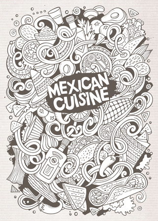mexican background: Cartoon cute doodles hand drawn Mexican food illustration. Line art detailed, with lots of objects background. Funny vector artwork. Sketchy picture with Mexico cuisine theme items