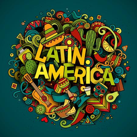 Ameryka Łacińska kolorowe świąteczne tło. Cartoon wektor ręcznie rysowane doodle ilustracja. Wielobarwny jasne szczegółowy projekt z obiektami i symbolami. Wszystkie obiekty są oddzielone Ilustracje wektorowe