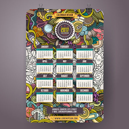 Cartoon colorful hand drawn doodles Beauty 2017 year calendar template. English, Sunday start. Very detailed, with lots of objects illustration. Funny vector artwork.