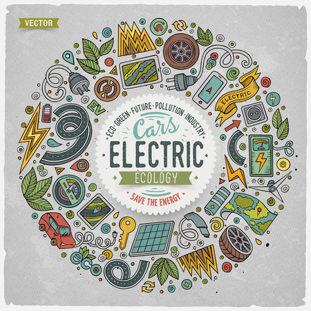 zero emission: Colorful vector hand drawn set of Electric cars cartoon doodle objects, symbols and items. Round frame composition Illustration