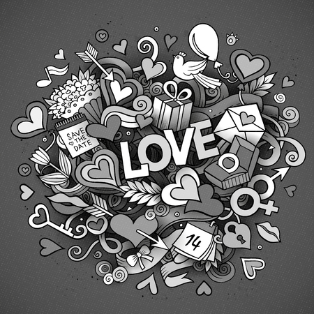 design objects: Cartoon vector hand drawn Doodle Love illustration. design background with objects and symbols.