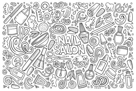 varnish: Vector hand drawn doodle cartoon set of Nail salon theme items, objects and symbols