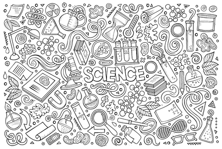 science symbols: Vector hand drawn doodle cartoon set of Science theme items, objects and symbols