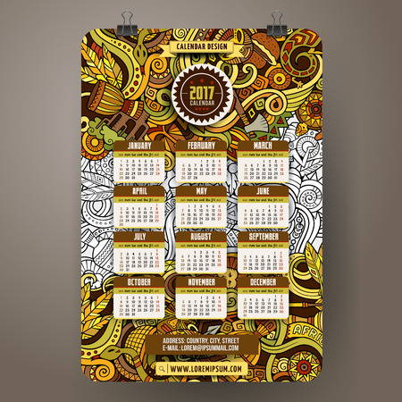 De dibujos animados de colores de mano garabatos dibujados África 2017 plantilla calendario del año. Inglés, se inicia el domingo. Muy detallado, con una gran cantidad de objetos de ilustración. obra divertida del vector. Vectores