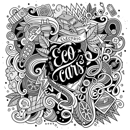 electric line: Cartoon cute doodles hand drawn Electric cars illustration. Line art detailed, with lots of objects background. Funny vector artwork. Contour picture with eco vehicles theme items