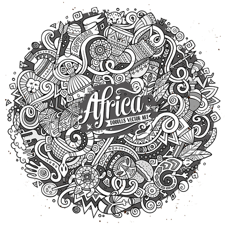 vector ornament: Cartoon cute doodles hand drawn Africa illustration. Line art detailed, with lots of objects background. Funny vector artwork. Contour picture with african theme items Illustration