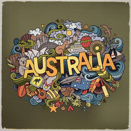 Australia country hand lettering and doodles elements and symbols background. Vector hand drawn sketchy illustration Illustration