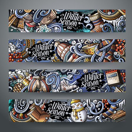 Cartoon cute colorful vector hand drawn doodles winter season corporate identity. 4 horizontal banners design. Templates set