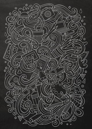 pencil drawing: Cartoon cute doodles hand drawn Design illustration. Line art detailed, with lots of objects background. Funny vector artwork. chalkboard picture with Artistic theme