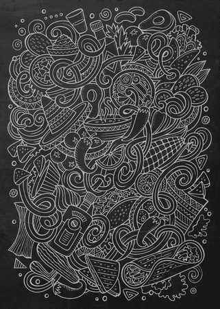 latinoamerica: Cartoon cute doodles hand drawn Mexican food illustration. Line art detailed, with lots of objects background. Funny vector artwork. chalkboard picture with Mexico cuisine theme items Illustration