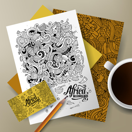 Cartoon cute line art vector hand drawn doodles Africa corporate identity set. Templates design of business card, flyers, posters, papers on the table.