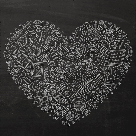 eco icon: Chalk board vector hand drawn set of Eco cars doodle objects, symbols and items. Heart form composition