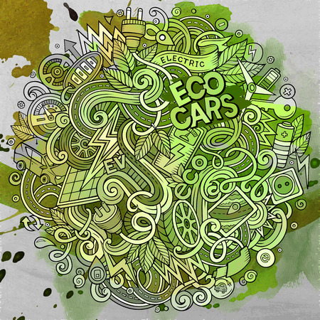 zero emission: Cartoon cute doodles hand drawn Electric cars illustration. Line art detailed, with lots of objects background. Funny vector artwork. Watercolor picture with eco vehicles theme items