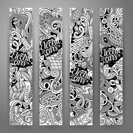 electric line: Cartoon cute line art vector hand drawn doodles electric cars corporate identity. 4 vertical banners design. Templates set Illustration