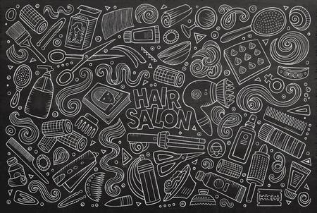 Vector mano doodle disegnati cartone animato insieme di Hair Salon tema articoli, oggetti e simboli