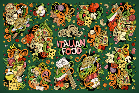 Colorful vector hand drawn doodle cartoon set of italian food objects and symbols