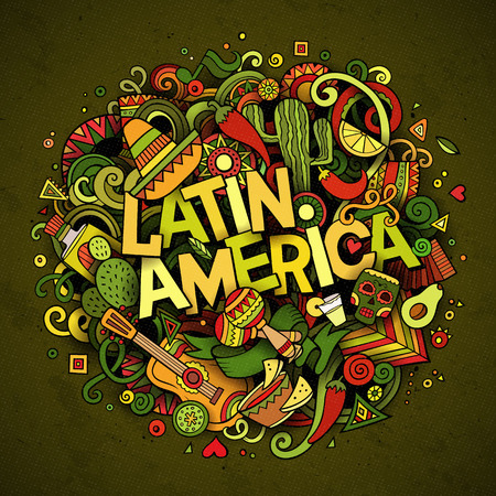 latin america: Latin America colorful festive background. Cartoon vector hand drawn Doodle illustration. Multicolored bright detailed design with objects and symbols. All objects are separated