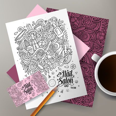 nails: Cartoon cute line art vector hand drawn doodles Nail salon corporate identity set. Templates design of business card, flyers, posters, papers on the table Illustration
