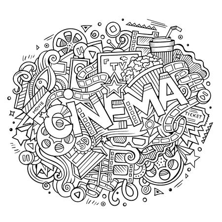 film title: Cartoon cute doodles hand drawn Cinema inscription